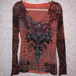 Sinful by Affliction M pink orange long sleeve top